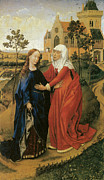 Virgin Mary Paintings - Visitation of Mary by Rogier Van Der Weyden