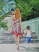 Steps Painting Originals - Visiting St. Marten by Freda Nichols