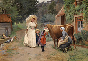 Famous Artists - Visiting the Farm by Emile Charles Dameron