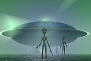 Flying Saucer Digital Art - Visitors by Carol and Mike Werner