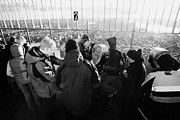 Manhatten Prints - Visitors On Observation Deck Of The Empire State Building New York City Usa Print by Joe Fox