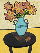 Vase Of Flowers Mixed Media Posters - Visual Stimulation Poster by Joyce Wynes