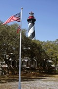 Flag Of Usa Prints - Viva Florida - The St Augustine Lighthouse Print by Christine Till