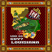 Throw Mixed Media Posters - Vive Le Roi Gator 4 Poster by Bill Campitelle