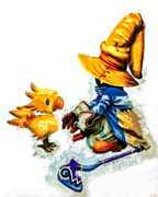 Wizards Prints - Vivi and the Chocobo Print by Joe Misrasi