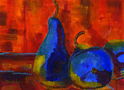 Pear Art Painting Prints - Vivid Pears Art Painting Print by Blenda Studio