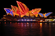 Vivid Sydney By Kaye Menner - Opera House ... Leaves Print by Kaye Menner