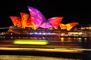 Vivid Sydney By Kaye Menner - Opera House ... Triangles Print by Kaye Menner