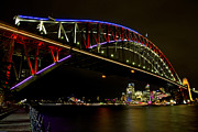 Bryan Freeman Framed Prints - Vivid Sydney Harbour Bridge Framed Print by Bryan Freeman