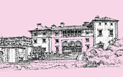 Photo Images Drawings - Vizacaya Museum in baby pink  by Building  Art