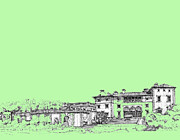 Miami Drawings - Vizcaya in lime-green by Building  Art
