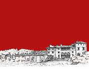 Miami Drawings - Vizcaya in red by Building  Art