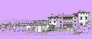 Photo Images Drawings - Vizcaya Museum and Gardens in lilac by Building  Art