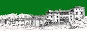 Photo Images Drawings - Vizcaya Museum and Gardens in pine green by Building  Art