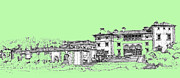 Photo Images Drawings - Vizcaya Museum and Gardens in pistachio green by Building  Art