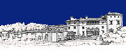 Photo Images Drawings - Vizcaya Museum and Gardens in royal blue by Building  Art
