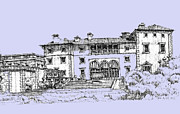 Photo Images Drawings - Vizcaya Museum and Gardens powder blue by Building  Art