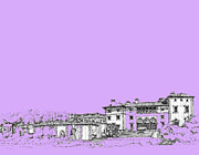 Lilac Drawings Posters - Vizcaya Museum in lilac Poster by Building  Art