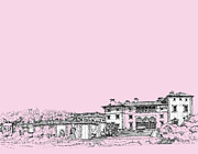 Photo Images Drawings - Vizcaya museum in pink by Building  Art