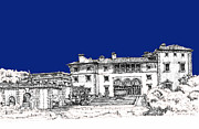 Photo Images Drawings - Vizcaya Museum in royal deep blue by Building  Art