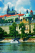 Prague Castle Digital Art Acrylic Prints - Vltava Acrylic Print by Eduardo Graf Lichnowsky