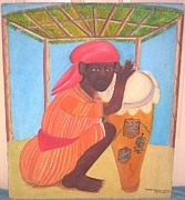 Vodou Paintings - Vodou Priest with Drum by Pierre Joseph Valcin