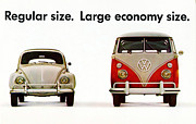 Economy Digital Art Framed Prints - Volkswagen 1960s Vintage Advert Framed Print by Nomad Art And  Design