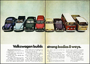 Vw Squareback Framed Prints - Volkswagen Builds Strong Bodies in 8 Ways Framed Print by Nomad Art And  Design