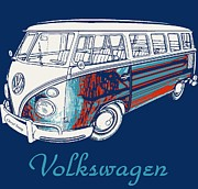 Hippie Van Art - Volkswagen by Cheryl Young