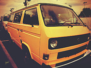 Cabin Wall Framed Prints - Volkswagen Peace Van - Vanagon I Framed Print by Paulette Wright