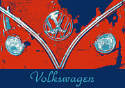 Hippie Van Posters - Volkswagen Pop art Poster by Cheryl Young