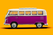 Oldtimer Originals - Volkswagen T1 Bus Bully Camper in pink on orange background by Daniel Osterkamp