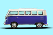 1960 Photo Originals - Volkswagen T1 Bus Bully Camper in purple on azul background by Daniel Osterkamp