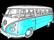 First Love Prints - Volkswagen Turquoise Print by Cheryl Young