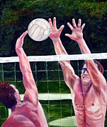 Rawlings Paintings - Volleyball Block by Julie Brugh Riffey
