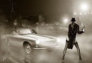 Car Chase Posters - Volvo P1800 and Hot Detective Poster by Linton Hart