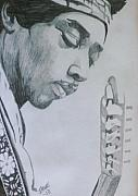 Music Legend Drawings Originals - Voodoo Child by Jeremy Moore