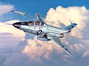 Stu Shepherd Posters - Voodoo In The Clouds - F-101B Voodoo Poster by Stu Shepherd