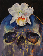Orchid Art Paintings - Voodoo Skull by Michael Creese
