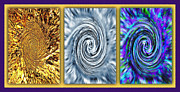 Twirling Mixed Media Prints - Vortices Triptych Print by Steve Ohlsen