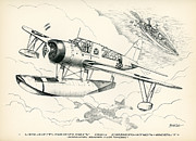 Observation Drawings Framed Prints - Vought-Sikorsky OS2U-1 Framed Print by Hank  Clark