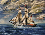 Wooden Ship Painting Prints - Voyage of the Cloud Chaser Print by Isabella F Abbie Shores