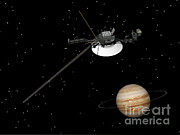 Three Dimensional Posters - Voyager Spacecraft Near Jupiter Poster by Elena Duvernay