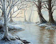 Snowy Trees Paintings - Voyageurs Dream by Kory Kiewitz