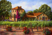 Winery Painting Posters - V.Sattui  Winery Revisited Poster by Gail Salituri