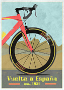 Wheels Mixed Media Posters - Vuelta a Espana Bike Poster by Andy Scullion