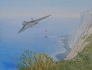 Jets Paintings - Vulcan XH558 Over Beachy Head by Elaine Jones