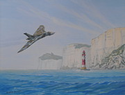 Raf Painting Framed Prints - Vulcan XH558 Passing Beachy Head Framed Print by Elaine Jones