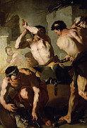 Black Men Painting Framed Prints - Vulcans Forge Framed Print by Luca Giordano
