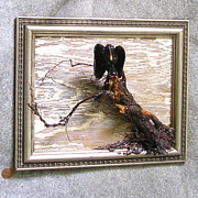 Featured Reliefs Originals - Vulture Old Painted Wood by Roger Swezey